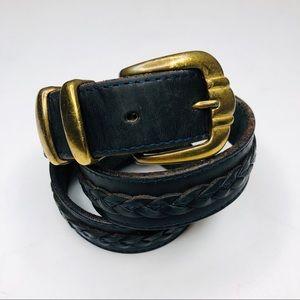 Navy Blue Genuine Leather Belt Brass Buckle Braid